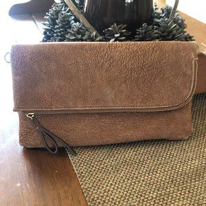 Soft Faux Leather Zippered Fold Clutch